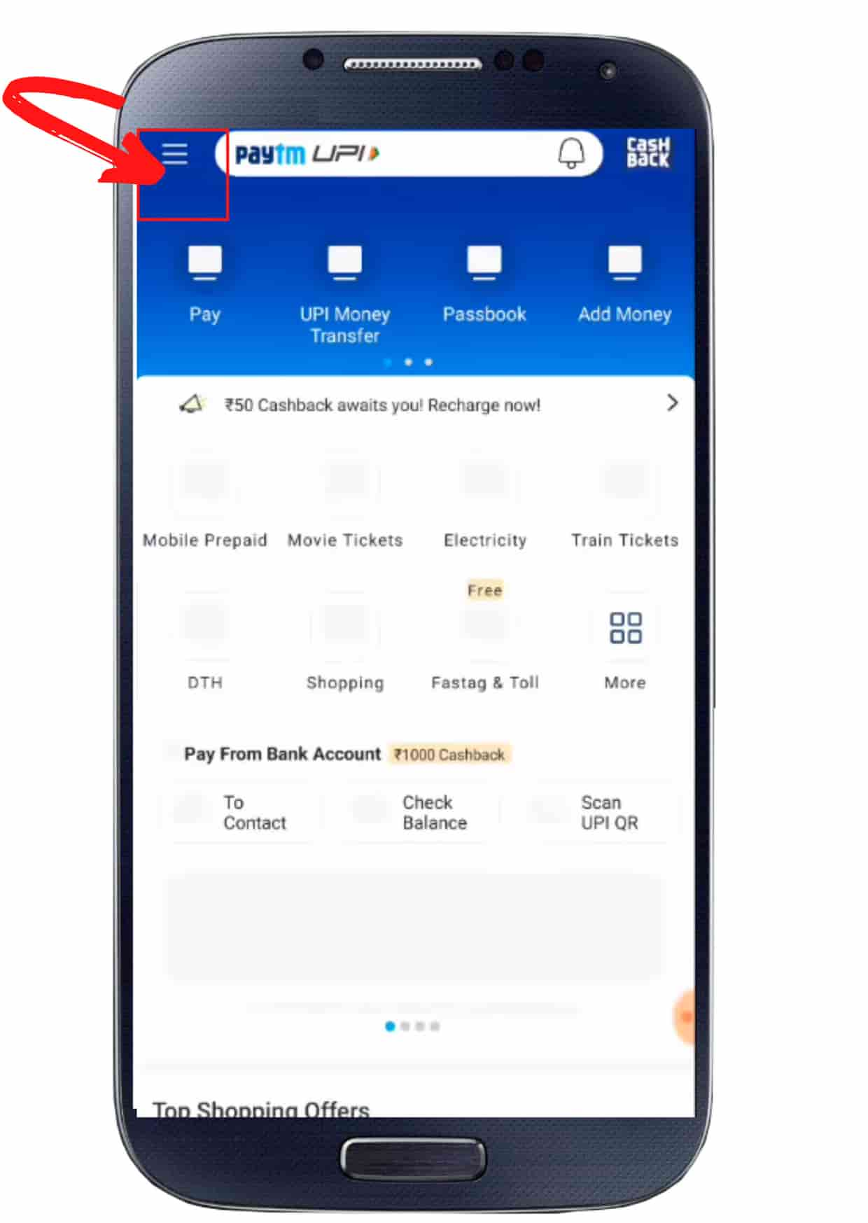 How to delte paytm step 1